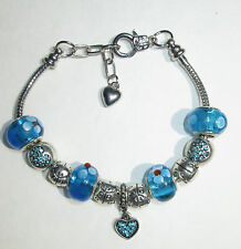 Silver Plated Fashion Blue Ocean European Style Bead Heart Charm Bracelet