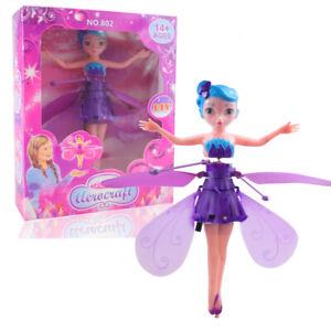 Flying Fairy Bambola Fata volante con sensori , Drone doll Toys (Viola)