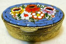 Vintage Gold Tone Floral Themed Micro Mosaic Italian Pill or Ring Box