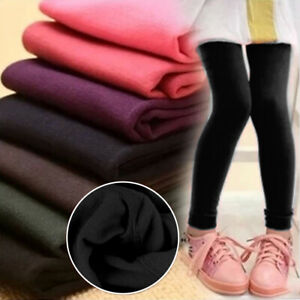 Kids Girls Thermal Fleece Lined Leggings Winter Slim Pants Trousers Age 2-14 UK