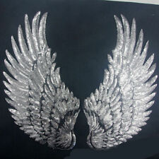 Sliver Paillette Feather Wing Patch Sequin Embroidered Sew/Iron On Sewing Craft