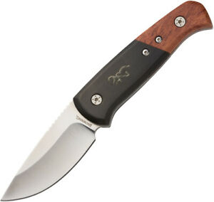 Browning Black/Brown Wood Stainless Drop Point Fixed Blade Knife w/ Sheath 0373