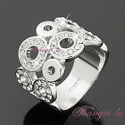 7078 Size6 White GOLD Plated RING Genuine SWAROVSKI CRYSTAL_BUBBLE