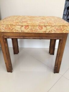 Mid Century Vintage Bamboo Vanity Wood Bench Seat Upholstered