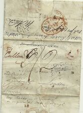 1820 LIVERPOOL SHIP LETTER EX NEW YORK USA MULTI-REDIRECTED LONDON RED L IN CIRC
