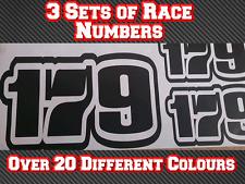 3 juegos de números de Carrera Moto Deportes Bicicleta Personalizado Pegatina de vinilo Calcomanías D6