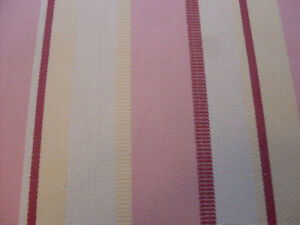Sanderson Curtain Fabric PINTADO 9.8m Pink/Claret/Cream Woven Ticking Stripe