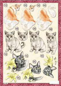 Craft UK A4 Die Cut Decoupage Sheet - Line 621 - CATS