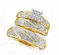 Wedding Diamond Ring Set 10K Yellow Gold Diamond Cluster Rings 3 Piece Set
