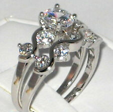 Wedding 2 Ring Set - Size 6 Elegant and Dainty Cubic Zirconia Bridal Engagement