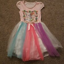 Pink Frozen Dress With Rainbow Multi Coloured Tutu Style Skirt Dress 5 Years