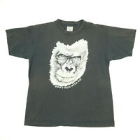 Vtg 90s Sun Wash Faded Gorilla T-Shirt LARGE Single Stitch USA Grunge Goth Punk