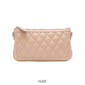 Ladies Quilted Real Leather Clutch Bag Crossbody Bag Italian Shoulder Handbag