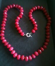 NATURAL REAL RUBY 5x8mm BEAD NECKLACE UK SALE.Crystal healing.July Birthday.NEW