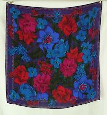 Liz Claiborne Bold Floral Large Square Silk Scarf Blue Purple Magenta Vintage
