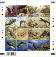 Malta Stamps 2004 MNH Mammals Reptiles Turtles Bats Lizards Dolphins 16v M/S