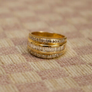 NEW 14K YELLOW GOLD 1.36ct. BAGUETTE & ROUND DIAMOND (VS/G) RING (size 6.5)