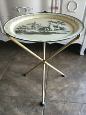 New listing Vtg Antique Italian Tole Tray Metal Folding Side Table Neoclassical Shabby Chic