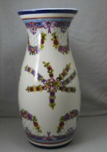 Mexico Pottery Table Vase Purple Flowers & Yellow Leaves Cobalt Blue Vase #2