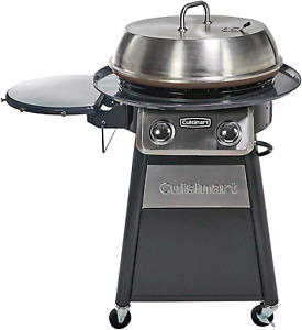 """Cuisinart Cgg 888 Grill Stainless Steel Lid 22"""" Round Outdoor 360° Griddle New"""