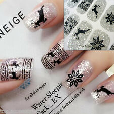 Christmas Reindeer Sparkly Nail Art Wrap Full Cover Stickers  #06069C Free P&P
