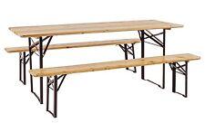 Set Tavolo Birreria in LEGNO 200X70 Pieghevole Esterno Giardino picnic 2 panche