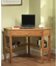 Small Space Bamboo Corner Computer Desk w/Lower Shelf & Drawer, 30H x 42W x 28D