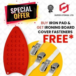 NEW Silicone Ironing Board Mat Pad | IRONING COVER FASTENERS SET OF 4 CLIPS FREE