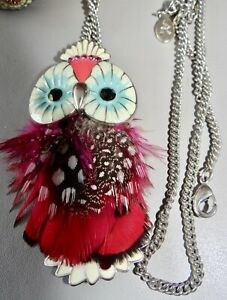 Large Metal enamelled and Feathered  Owl Pendant by Accessorise