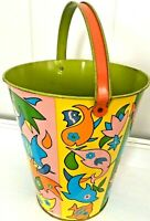 Vintage Tin Litho OHIO Art Vibrant Fish Toy Sand Pail/Bucket Bryan Ohio Easter