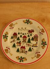 1987 Jamestown The Joy Of Christmas Sleighs Angels Horse & Buggy Salad Plates