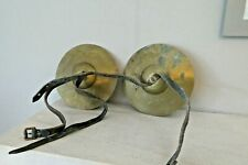 More details for pair of vintage brass cymbals with leg straps - one man band musical instruments