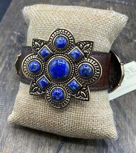 Barse Buckle Bracelet- Turquoise, Leather & Bronze- NWT