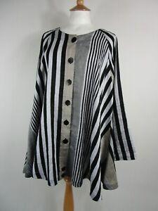 Ralston Linen Blend Grey Stripe Lagenlook Shirt Size M / One Size