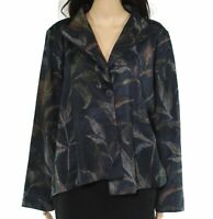Taylor Brooke Womens Jackets Black Size XL Floral Print Stretch Knit $98 611
