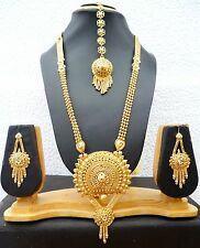 22K gold Plated Round Pendant 11'' Long Necklace Earrings Tikka Ring Set c