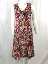 Ralph Lauren Sz Small 100% Cotton Red Paisley Floral V-Neck Ruffle Belted Dress