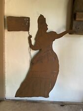 Handmade Tin Aged Folky Lady Liberty Hanging Form Garden Americana Country