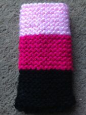 Hand knitted Mobile phone sock/cover/case pinks/black