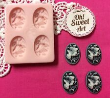 Tiny Brooch Cameo Flowers silicone mold fondant cake decorating cupcake FDA
