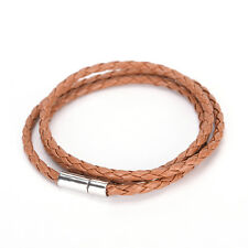 High Quality Mens Womens PU Leather Cord Necklace Twist Chain Stainless LJ Coffee