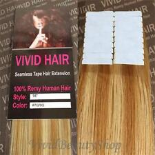 "20pc 18"" Remy Seamless Tape Skin Weft Human Hair Extension Strawberry Blonde Mix"