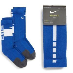 New Nike Youth Kids Boys 2PK Elite Crew Socks Blue/White Sizes S/M - 3Y up to 7Y