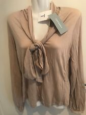 TRENERY  Top/ Blouse TIE FRONT TEE , Size XS , Pale Latte Colour RRP79.95