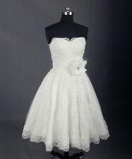 Vintage Short Wedding Dress Knee Length Lace Beading Ivory Simple Bridal Gown