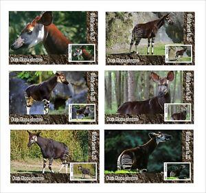 2020  OKAPI 6 SOUVENIR SHEETS  UNPERFORATED  WILD ANIMALS FAUNA ANTELOPE