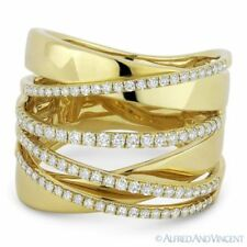 Wrap Ring in 14k Yellow Gold 0.61ct Round Cut Diamond Right-Hand Overlap Fashion