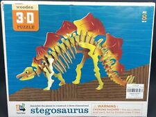 Cool NEW 3D Stegosaurus Wooden Puzzle Yellow & Red By GO!