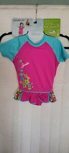 New Speedo Kids UV 50+ Floatation Suit W/ Skirt Girls M/L Age 2-4 33-45 Lbs