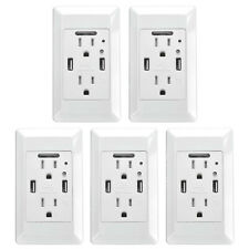 5 Pack Outlet Wall Plate With LED Night Lights Fast Charging Dual Usb Ports 4.2A